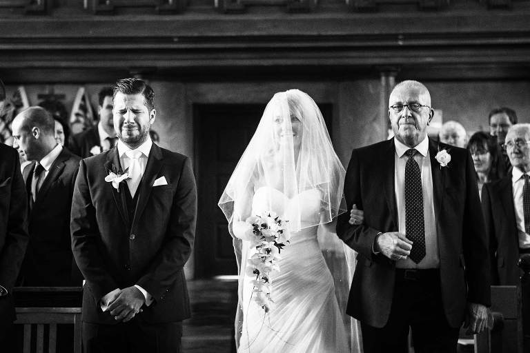 Groom close to tears as bride walks up the isle with dad on wedding day in West Sussex