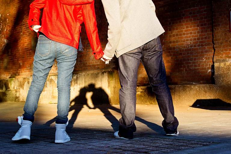 Shadows of couple kissing during pre wedding photo shoot London