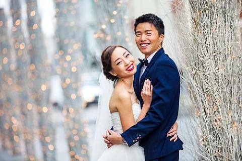 Chinese couple in wedding dress and suit for pre wedding photo shoot London